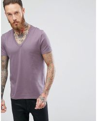ASOS DESIGN - T-shirt With Deep V In Purple - Lyst