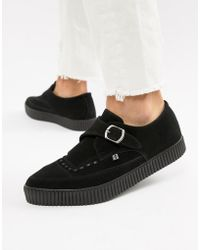 T.U.K. - Faux Leather Pointed Creeper Monks With Buckle - Lyst