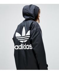 adidas Originals - Hooded Coat With Back Logo In Black - Lyst