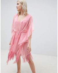 Pieces - Beach Kaftan With Fringing - Lyst