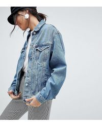 ASOS - Denim Girlfriend Jacket In Midwash Blue - Lyst