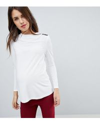 ASOS - High Drape Neck Top With Button Detail - Lyst