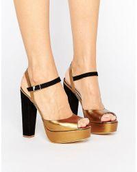 Terry De Havilland - Coco Bronze Leather Platform Heeled Sandals - Lyst