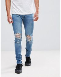 Religion - Jeans In Skinny Fit With Rips And Zip - Lyst