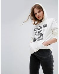 RVCA - Oversized Boyfriend Hoodie With Serpent Print - Lyst