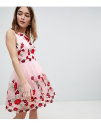 Chi Chi London - Floral Embroided Midi Dress - Lyst