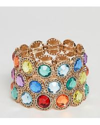 ASOS - Asos Design Curve Exclusive Pack Of 3 Bracelets With Multicolor Jewels In Gold - Lyst