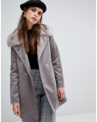 River Island - Tailored Suedette Coat With Faux Fur Collar In Grey - Lyst