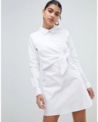 Fashion Union - Shirt Dress With Tie Front Detail - Lyst