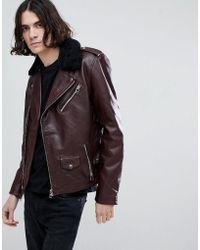 Goosecraft | Idaho Leather Biker Jacket With Detatchable Collar In Redwood | Lyst