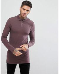 ASOS - Design Longline Muscle Fit Long Sleeve Polo In Purple - Lyst