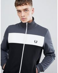 Fred Perry - Sports Authentic Colour Block Track Jacket In Charcoal - Lyst