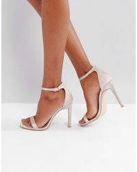 Public Desire - Avril Satin Barely There Heeled Sandals - Lyst