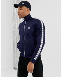Fred Perry - Taped Track Jacket In Navy - Lyst