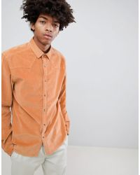 ASOS DESIGN - Stretch Slim Western Cord Shirt In Pale Orange - Lyst