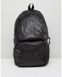 Armani Jeans - Faux Leather Logo Backpack In Black - Lyst