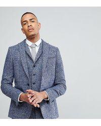 ASOS - Asos Tall Slim Suit Jacket In Blue Flecked Wool Blend - Lyst