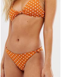 Pull&Bear - Pacific Polka Dot Knot Front Bikini Top In Brown - Lyst