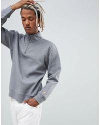 Carhartt WIP - Chase Neck Zip Regular Fit Sweatshirt In Grey - Lyst