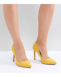 ASOS - Paris Wide Fit Pointed High Heeled Court Shoes In Yellow - Lyst