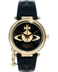 Vivienne Westwood - Leather Strap Watch With Orb Charm Vv006bkgd - Lyst