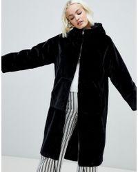 Monki - Faux Fur Zip Hooded Coat In Black - Lyst
