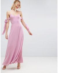 ASOS - Cold Shoulder Bow Cami Maxi Dress - Lyst