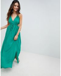 ASOS - Halter Maxi Beach Dress With Cut Out Sides - Lyst