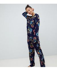 ASOS - Asos Design Petite Abstract Navy Floral Traditional 100% Modal  Trousers Set - Lyst 0ef631fd5