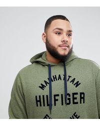 Tommy Hilfiger - Big & Tall Barney Manhattan Logo Hooded Sweatshirt In Green - Lyst
