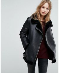 New Look - Faux Shearling Suedette Aviator Jacket - Lyst