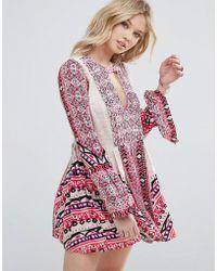 Free People - Tegan Border Print Mini Dress - Lyst