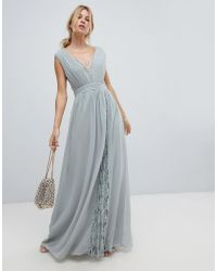 Little Mistress - Maxi Dress With Lace Inserts - Lyst