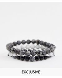 Reclaimed (vintage) - Inspired Monochrome Semi Precious Beaded Bracelet Pack Exclusive At Asos - Lyst
