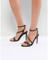 ASOS - Hacker Studded Heeled Sandals - Lyst
