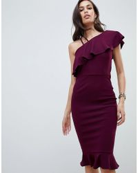 2676fa88e6 Asos Pencil Dress With Plunge Neckline in Red - Lyst