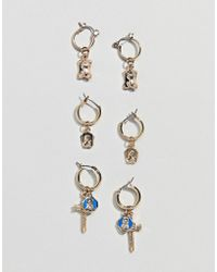 ASOS - Design Pack Of 3 Hoop Earrings With Vintage Style Cross And Icon Charm In Gold - Lyst