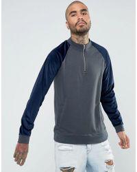 ASOS - Oversized Half Zip Track Jacket With Velour Sleeves - Lyst