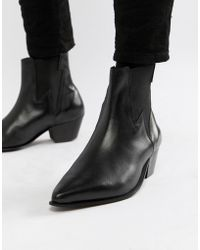 ASOS - Cuban Heel Western Boots In Black Leather With Lightning Detail - Lyst
