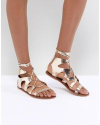 Warehouse | Ankle Tie Leather Gladiator Sandals | Lyst