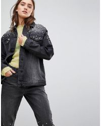 Chorus - Pearl Embellished Oversized Denim Jacket - Lyst