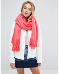 ASOS - Long Tassel Scarf In Supersoft Knit In Coral - Lyst