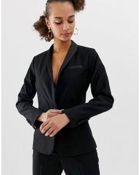 New Look - Satin Tux Blazer In Black - Lyst