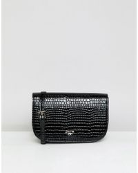 Dune - Effie Black Faux Croc Cross Body Bag - Lyst