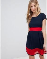 Wal-G - Skater Dress With Stripe Waistband And Hem - Lyst