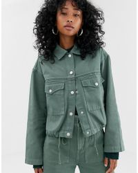Weekday - Drawstring Denim Jacket In Khaki - Lyst