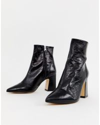 Office - Alto Black Leather Mid Heeled Ankle Boots - Lyst