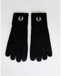 Fred Perry - Logo Merino Wool Gloves Black - Lyst