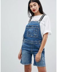 Pepe Jeans - Dungaree Shortall With Stripe Straps - Lyst