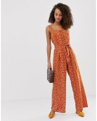 Miss Selfridge - Pinny Jumpsuit In Orange Print - Lyst